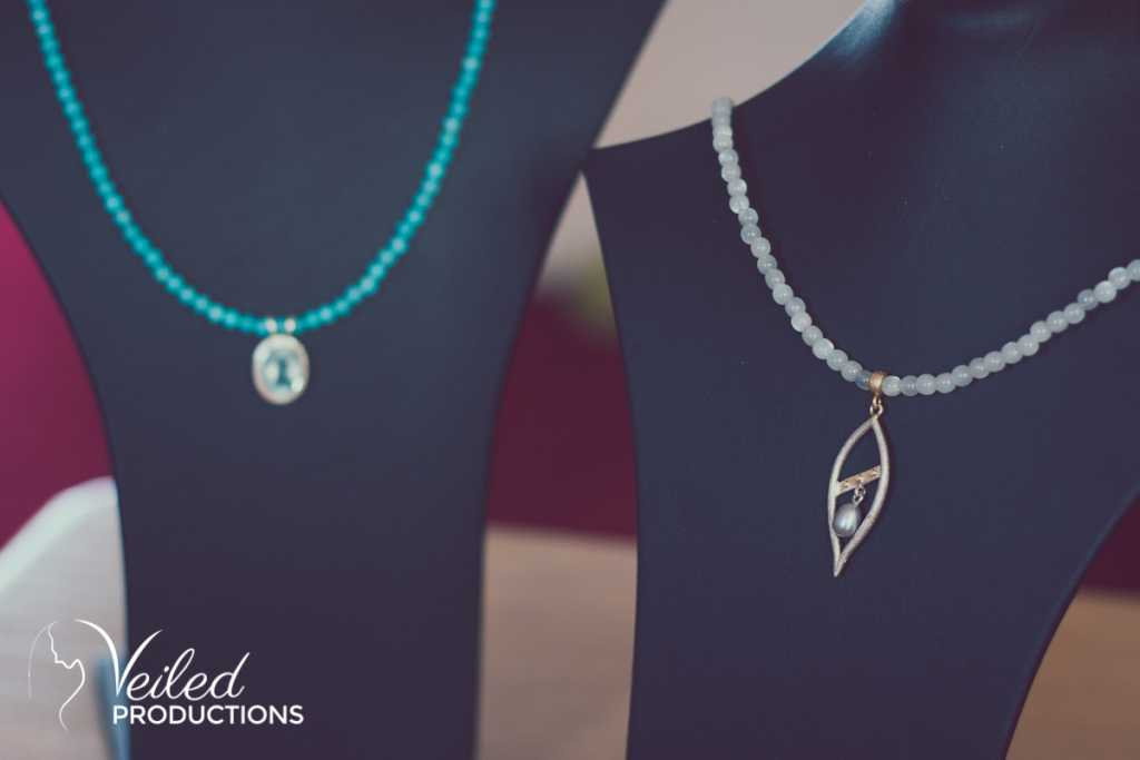 Emily Fermor necklaces from Emily Fermor wedding jewellery. Photography by Veiled Productions