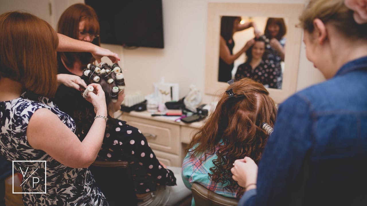 Bridal preparations - gorgeous hair styling. Horwood House wedding at Easter.