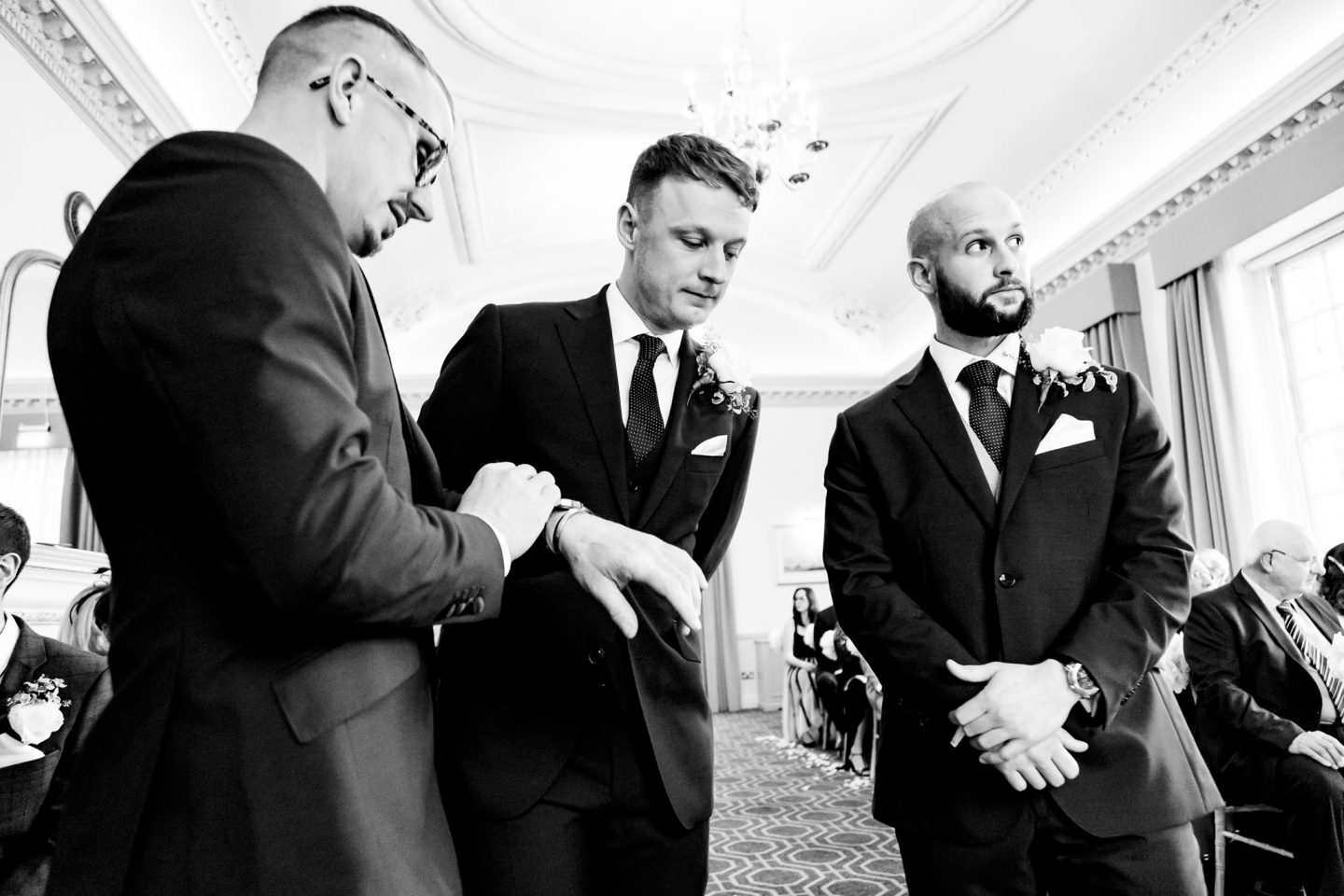 Groom and groomsmen waiting before the ceremony - Image courtesy of Kevin Lines Photography Hertfordshire