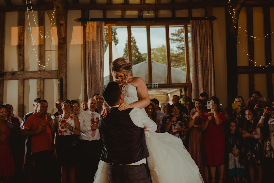 Cat and Calum's first dance at The Garden Barn wedding venue. Photo thanks to Lee Allison Photography.