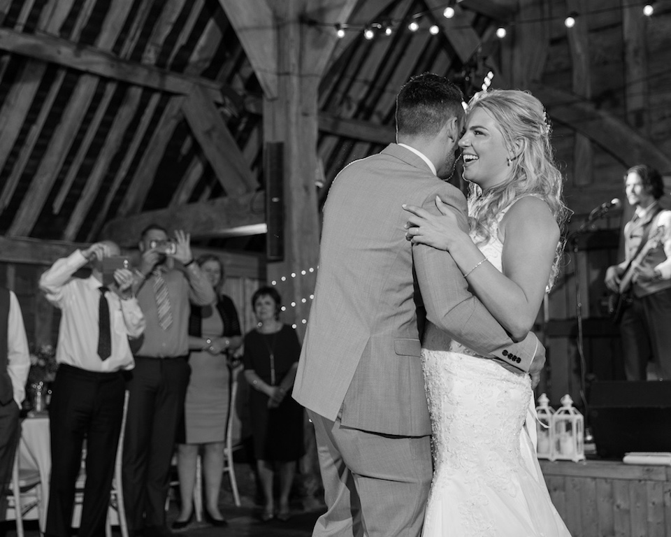 Ashleigh and Jamie's first dance at The Priory barn wedding venue hertfordshire - photography and videography by Veiled Productions