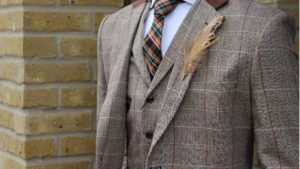 Chimney Menswear- Wedding Outfit Rules- Unique Buttonholes - with a feather