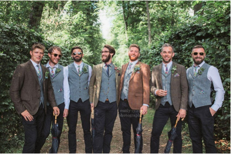 Informal groom and groomsmen. Chimney Menswear - Wedding Outfit Rules.