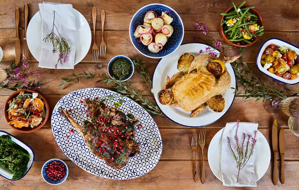 Alternative wedding catering - ideas by Hall and Co - roast dinners to share on each table.