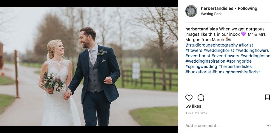 Tarryn and Lee Wedding Flowers by Herbert and Isles Instagram Post. Photo by Studio Rouge. Veiled Productions filmed the day - Wasing Park wedding videographer.