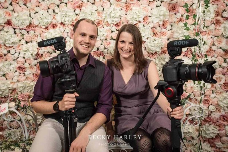 Photo of Rachel and Pete from Veiled Productions - fun wedding films Cambridgeshire, Hertfordshire, Bedfordshire, Essex - Photo courtesy of Becky Harley Photography