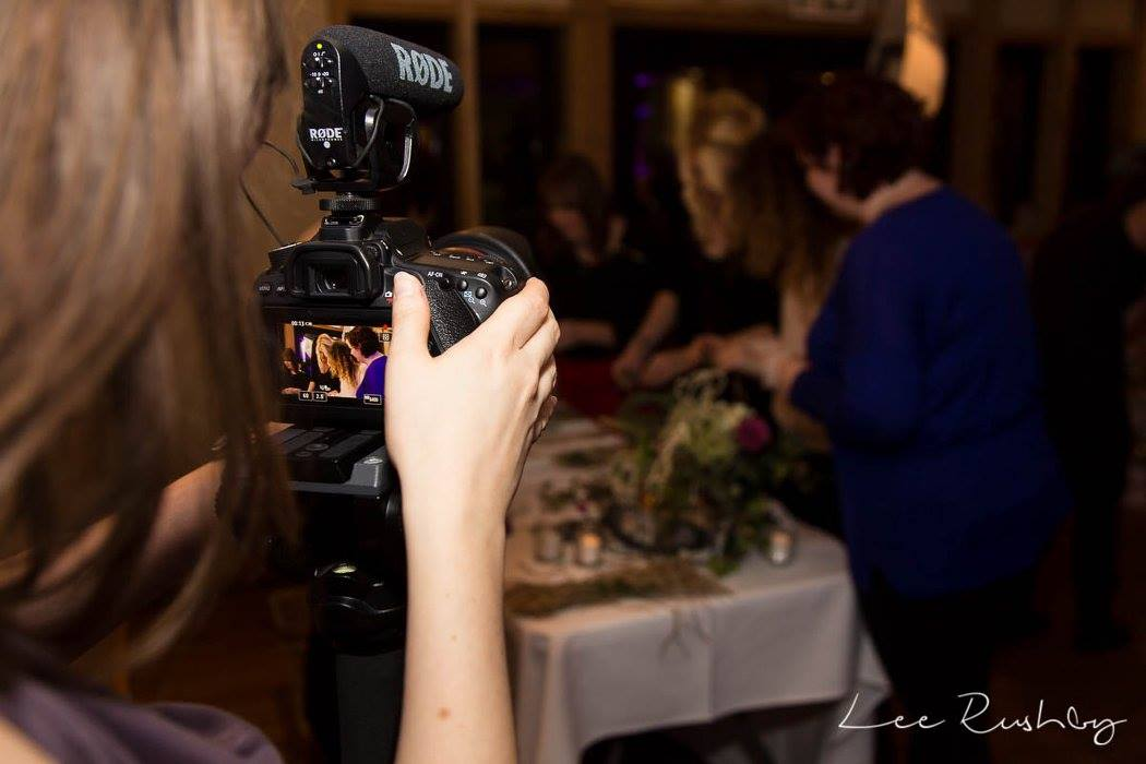 Rachel from Veiled Productions filming - fun wedding films Cambridgeshire, Hertfordshire, Bedfordshire, Essex. Photo courtesy of Lee Rushby Photography.