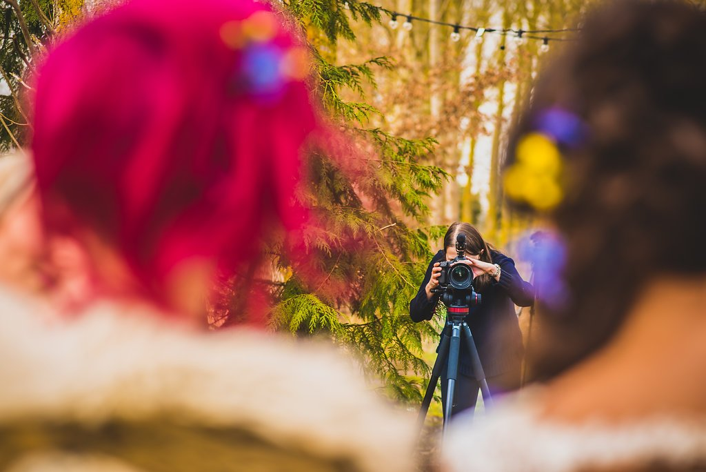 Photo of Rachel from Veiled Productions filming - fun wedding films Cambridgeshire, Hertfordshire, Bedfordshire, Essex. Photo courtesy of Damien Vickers Photography.