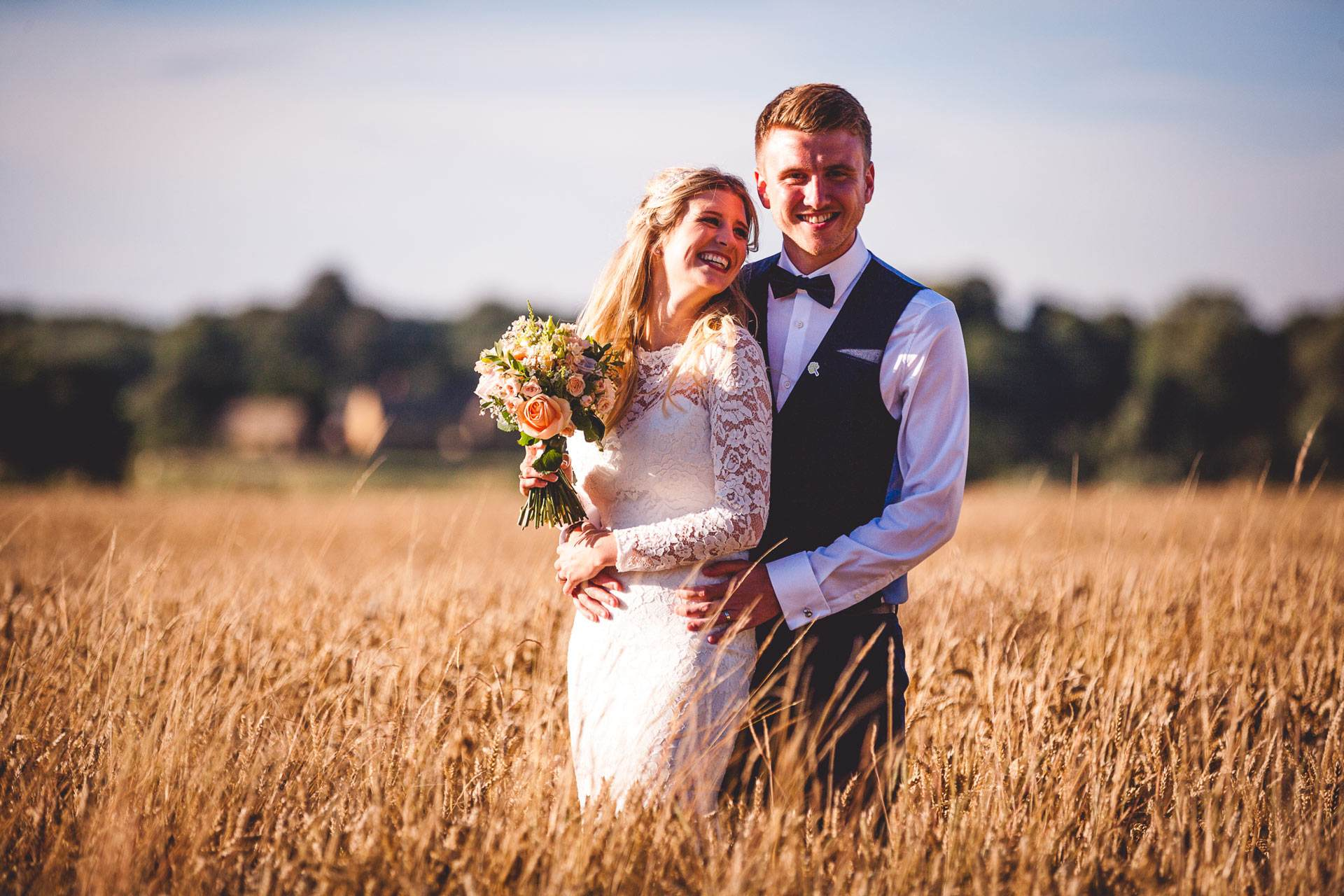 Christina and Dan at sunset by Veiled Productions - the great barn aynho wedding videographer