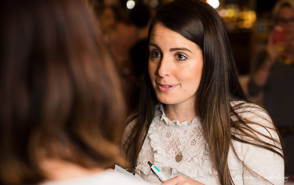 Bride chatting to suppliers at the Engage Wedding Planning Party, wedding fair Bedford. Photo courtesy of Lee Rushby