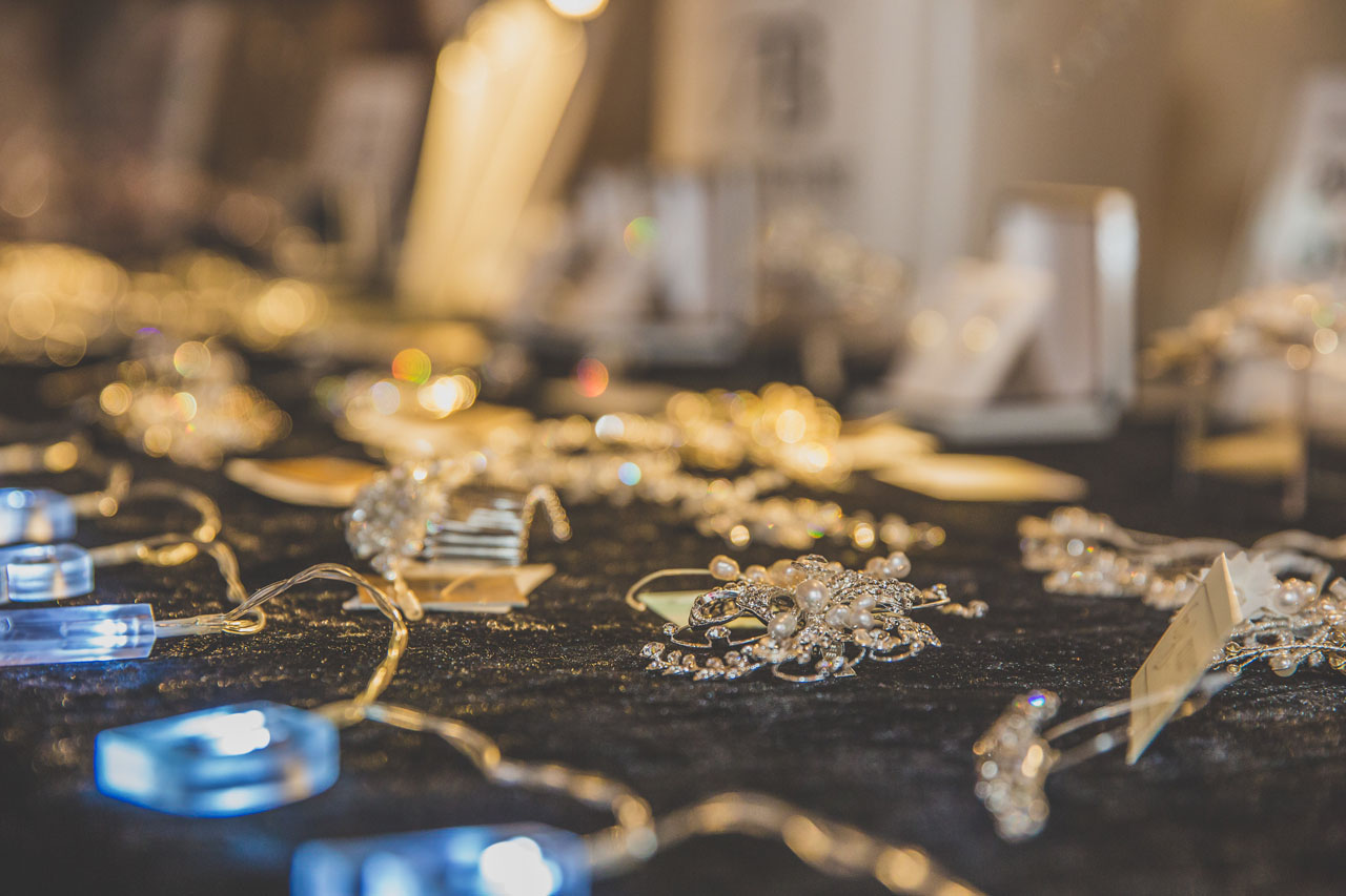 Gorgeous wedding accessories by Townhouse Bridal at the Engage Weddings wedding planning party wedding fair in Bedford. Image thanks to Nicki Shea Photography