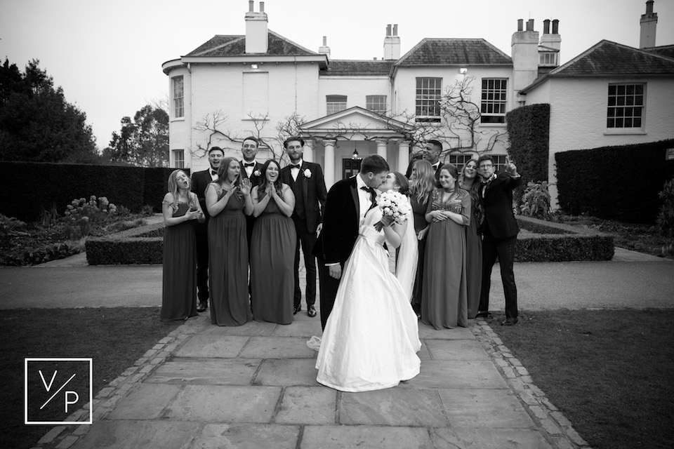 Liz and Luke with their wedding party - a spring pembroke lodge wedding - photography and videography by Veiled Productions