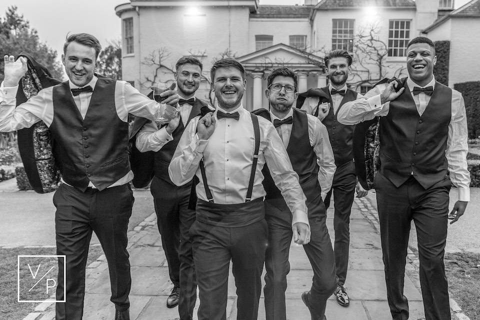Luke with his groomsmen - a spring pembroke lodge wedding - photography and videography by Veiled Productions