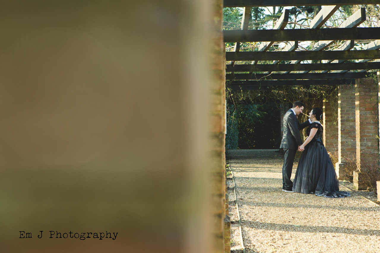 Sarah and Dan in the gardens of Knebworth House - Harry Potter themed wedding - Photo by Em J Photography, Video by Veiled Productions