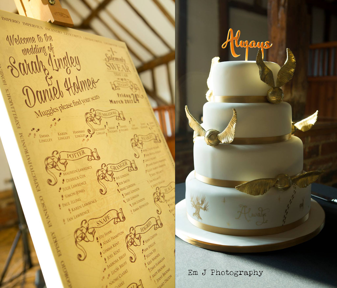 Harry Potter themed table plan and wedding cake - photo by Em J Photography, video by Veiled Productions