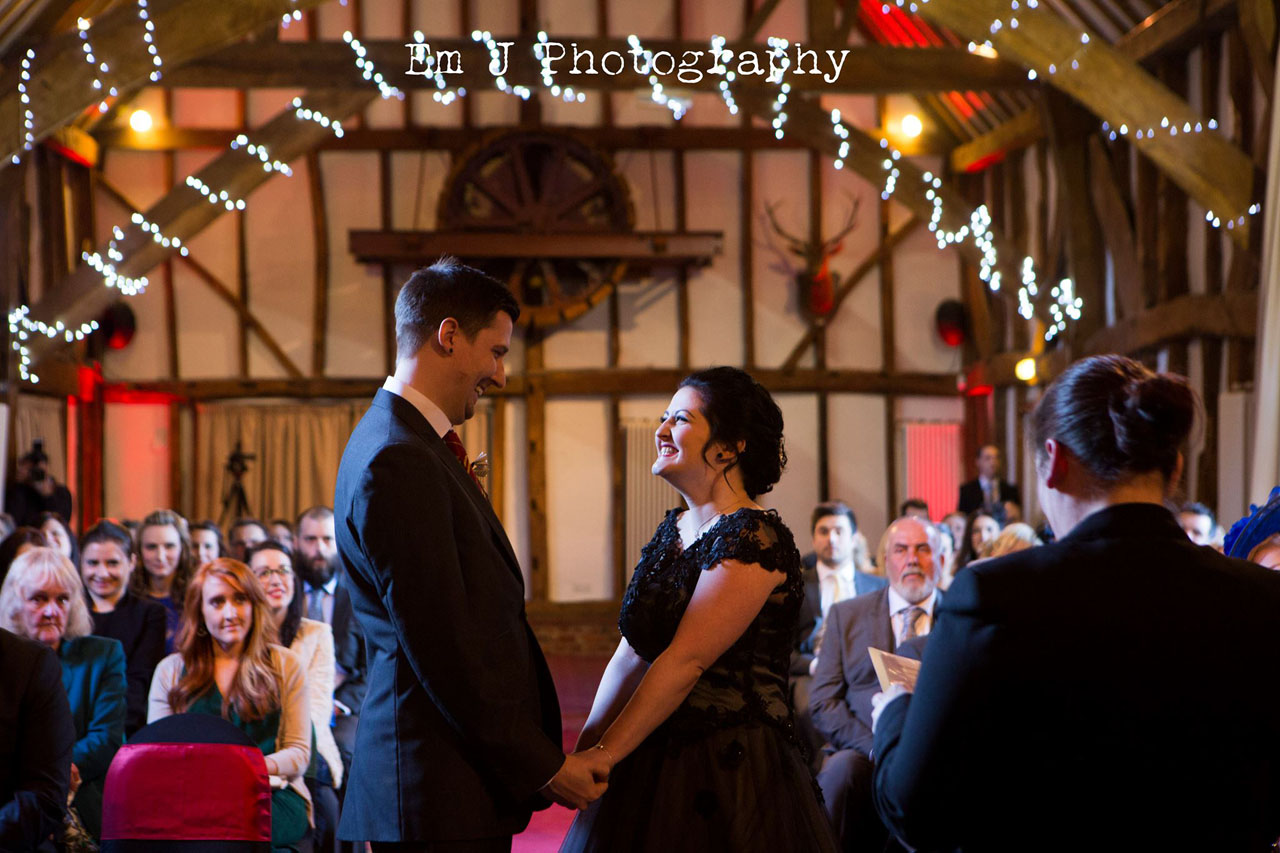 Sarah and Dans gorgeous Harry Potter themed wedding at Knebworth Barns - photo courtesy of Em J Photography