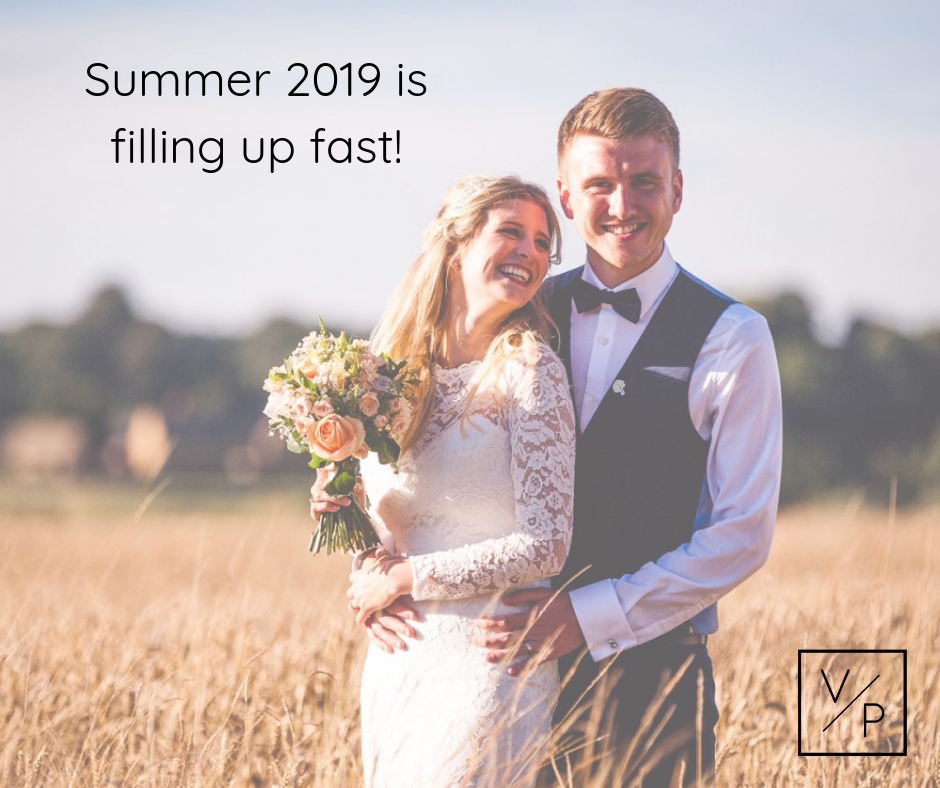 Summer 2019 is filling up fast. Book Veiled Productions for 2019 and receive a free bottle of Prosecco.