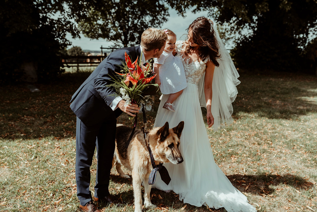 Jenny and Charlie Caribbean themed wedding - family photo dogs at weddings - photography by Jess Soper Photogaphy, videography by Veiled Productions