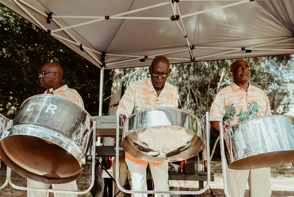 Jenny and Charlie Caribbean themed wedding - Afternoon entertainment steel drums - photography by Jess Soper Photogaphy, videography by Veiled Productions