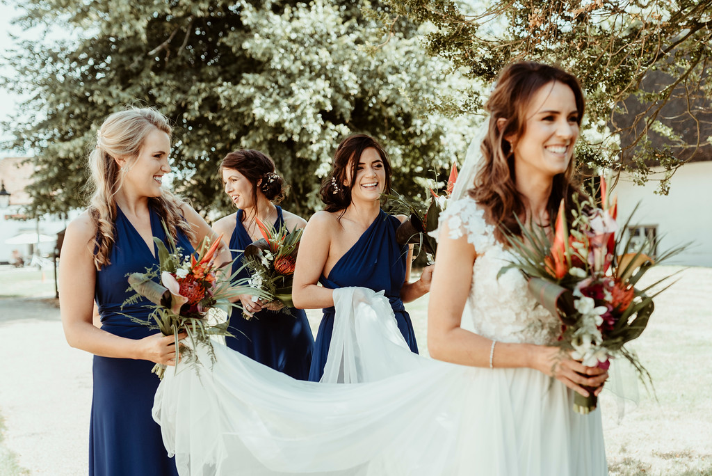 Jenny and Charlie Caribbean themed wedding - bride and bridesmaids arrival - photography by Jess Soper Photogaphy, videography by Veiled Productions