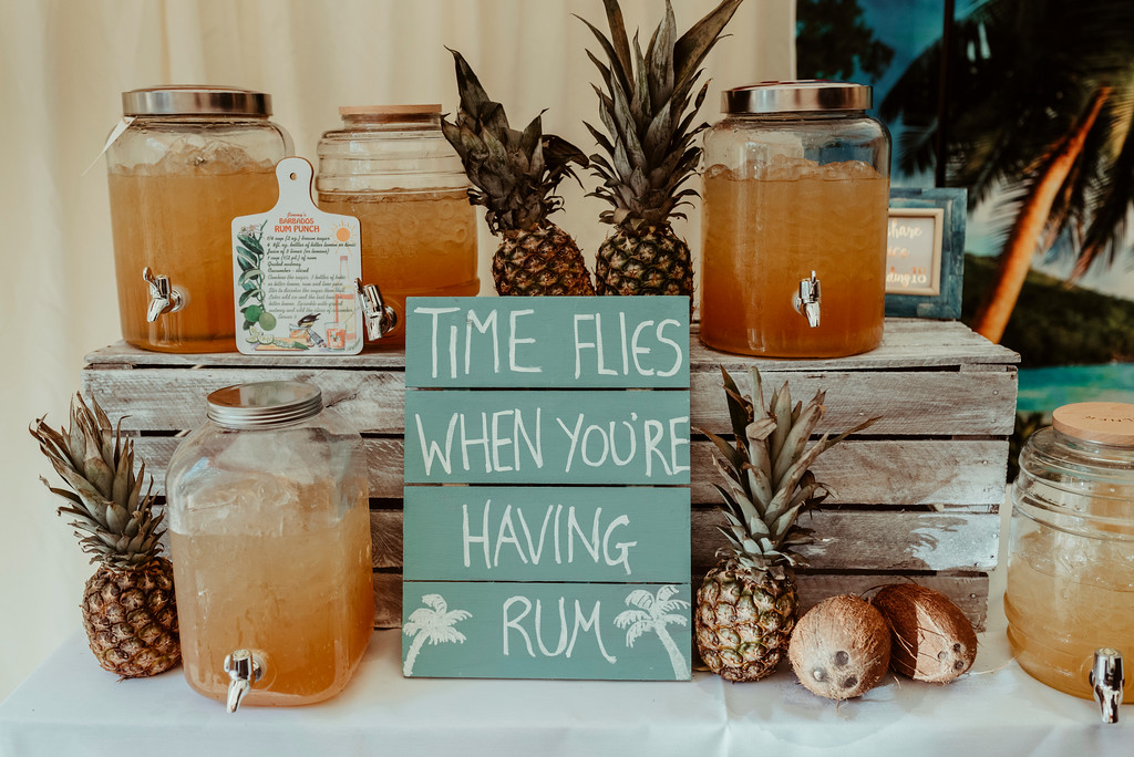 Jenny and Charlie Caribbean themed wedding - rum punch afternoon reception - photography by Jess Soper Photogaphy, videography by Veiled Productions