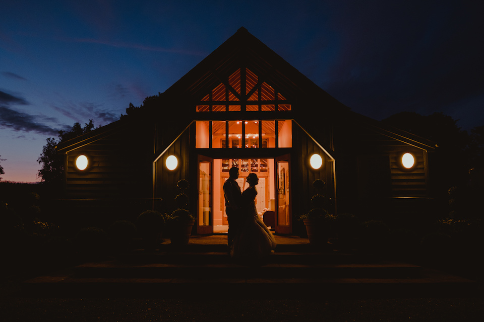 Night photo of Cat and Calum wedding at the Garden Barn wedding venue by Lee Allison Photography