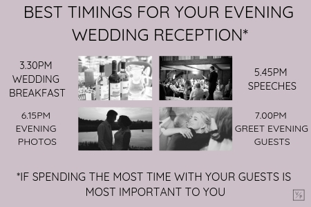 Best timings for your evening reception if spending time with your guests is most important to you. Photography and videography by Veiled Productions