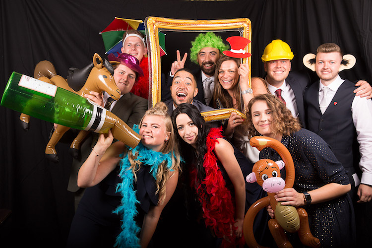 Best timings for your wedding day - having a photo-booth set up means you can have fun photos with your evening guests too. Photography and videography by Veiled Productions