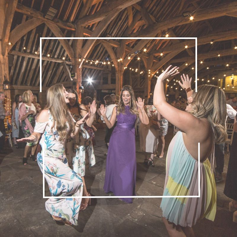 Wedding party dancing - perfect evening entertainment. Documentary style wedding film by Veiled Productions for modern, family focused couples.