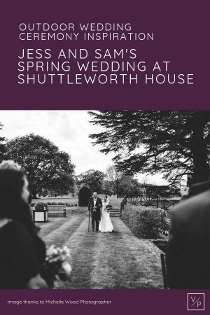 Outdoor wedding ceremony inspiration - Jess walking down the aisle with her Grandad towards The Summer House - Jess and Sam wedding at Shuttleworth House. Photo thanks to Michelle Wood Photographer. Shuttleworth House wedding videographer Veiled Productions.