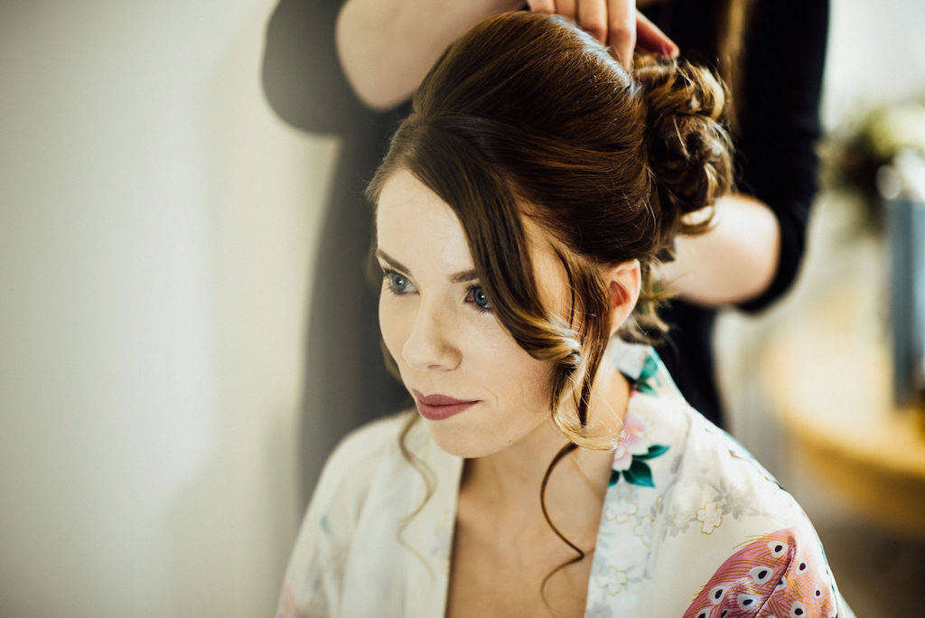 Jess getting ready at home - photo by Michelle Wood Photographer, video by Veiled Productions - Shuttleworth House wedding videographer