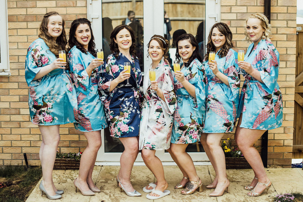 Jess and her bridesmaids all ready in their dressing gowns - photo by Michelle Wood Photographer, video by Veiled Productions - Shuttleworth House wedding videographer