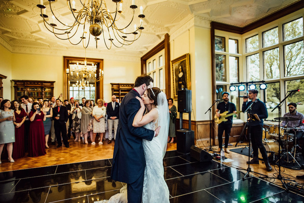 Gorgeous first dance with Breakthrough Band singing live - Jess and Sam wedding at Shuttleworth House. Photo thanks to Michelle Wood Photographer. Shuttleworth House wedding videographer Veiled Productions.