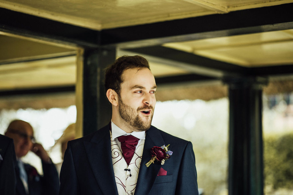 Sam's reaction to seeing Jess in her wedding dress as she walked down the aisle towards The Summer House at Shuttleworth House. Photo courtesy of Michelle Wood Photographer