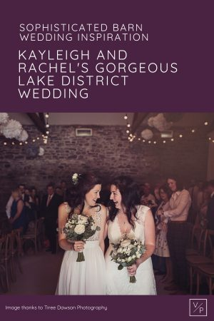 Kay and Rach leaving their wedding ceremony at New House Farm in the Lake District. Photography by Tiree Dawson Photography. Videography by Veiled Productions. Sophisticated New House Farm wedding in the Summer 2019.