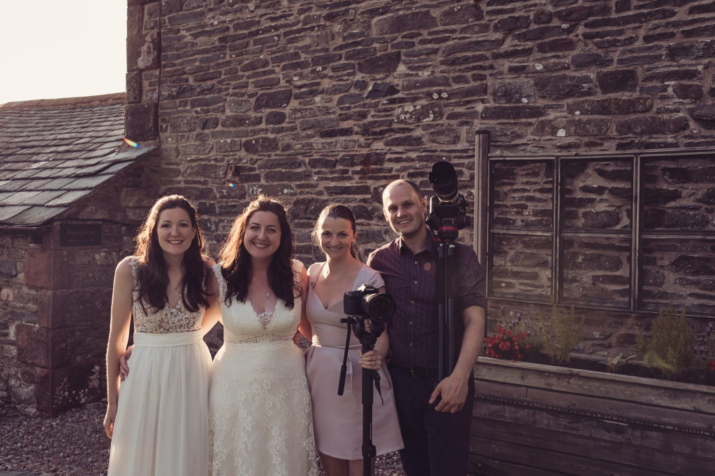 Kayleigh and Rachel with Veiled Productions team Rachel and Pete - Photography by Tiree Dawson Photography. Fun wedding films by Veiled Productions.